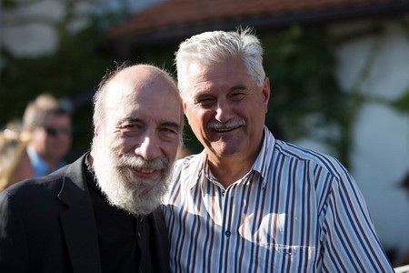 Raúl Zurita and Andrej Brvar, Chilean and Slovene poets, Days of poetry and wine 2017. / Photo: Matej Pušnik